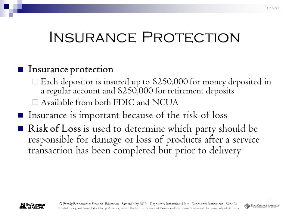 1.7.3.G1 © Family Economics & Financial Education – Revised May 2010 – Depository Institutions Unit – Depository Institutions – Slide 12 Funded by a grant from Take Charge America, Inc.