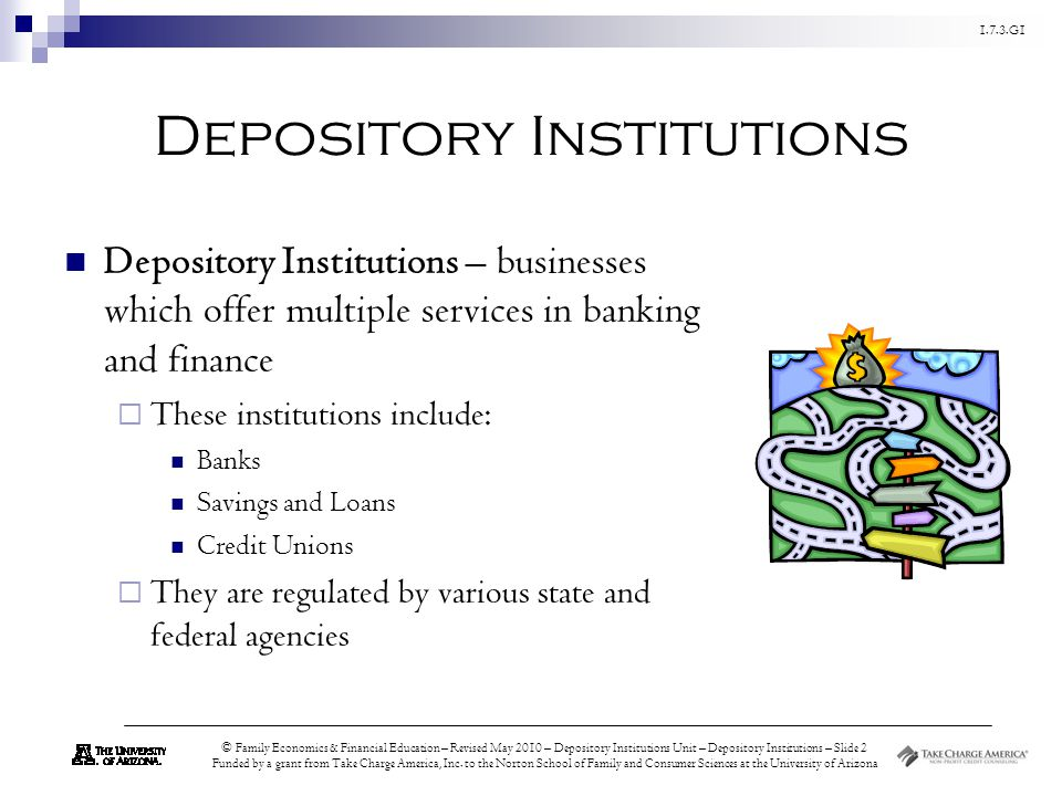 1.7.3.G1 © Family Economics & Financial Education – Revised May 2010 – Depository Institutions Unit – Depository Institutions – Slide 2 Funded by a grant from Take Charge America, Inc.