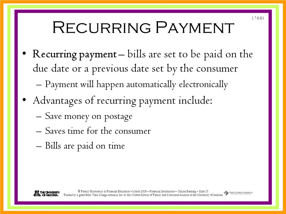 1.7.6.G1 © Family Economics & Financial Education –March 2008 – Financial Institutions – Online Banking – Slide 15 Funded by a grant from Take Charge America, Inc.