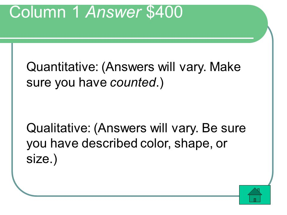 Column 1 Answer $400 Quantitative: (Answers will vary.