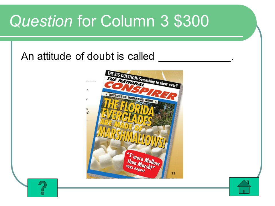 Question for Column 3 $300 An attitude of doubt is called ____________.