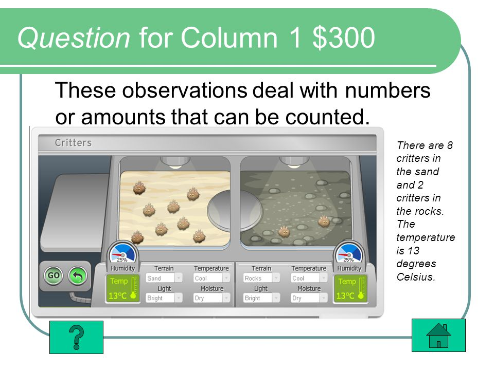 Question for Column 1 $300 These observations deal with numbers or amounts that can be counted. There are 8 critters in the sand and 2 critters in the