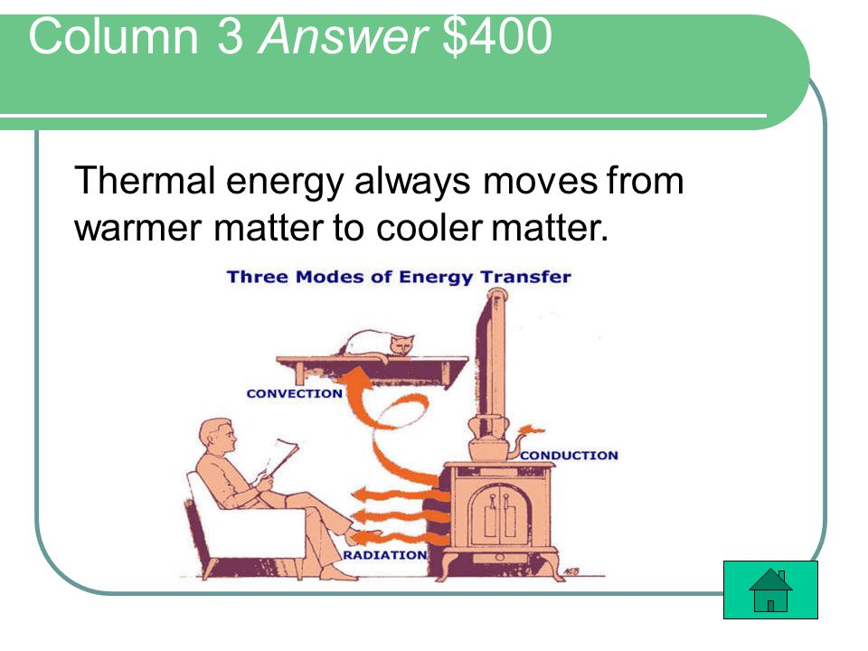 Column 3 Answer $400 Thermal energy always moves from warmer matter to cooler matter.