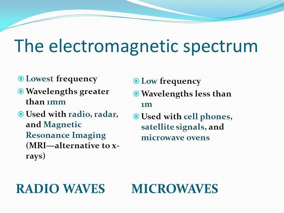 The electromagnetic spectrum RADIO WAVESMICROWAVES LLowest frequency WWavelengths greater than 1mm UUsed with radio, radar, and Magnetic Resonance Imaging (MRI—alternative to x- rays) LLow frequency WWavelengths less than 1m UUsed with cell phones, satellite signals, and microwave ovens