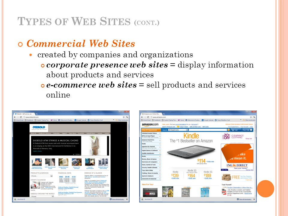 T YPES OF W EB S ITES ( CONT.) Commercial Web Sites created by companies and organizations corporate presence web sites = display information about products and services e-commerce web sites = sell products and services online