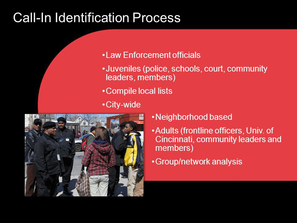Law Enforcement officials Juveniles (police, schools, court, community leaders, members) Compile local lists City-wide Call-In Identification Process Neighborhood based Adults (frontline officers, Univ.
