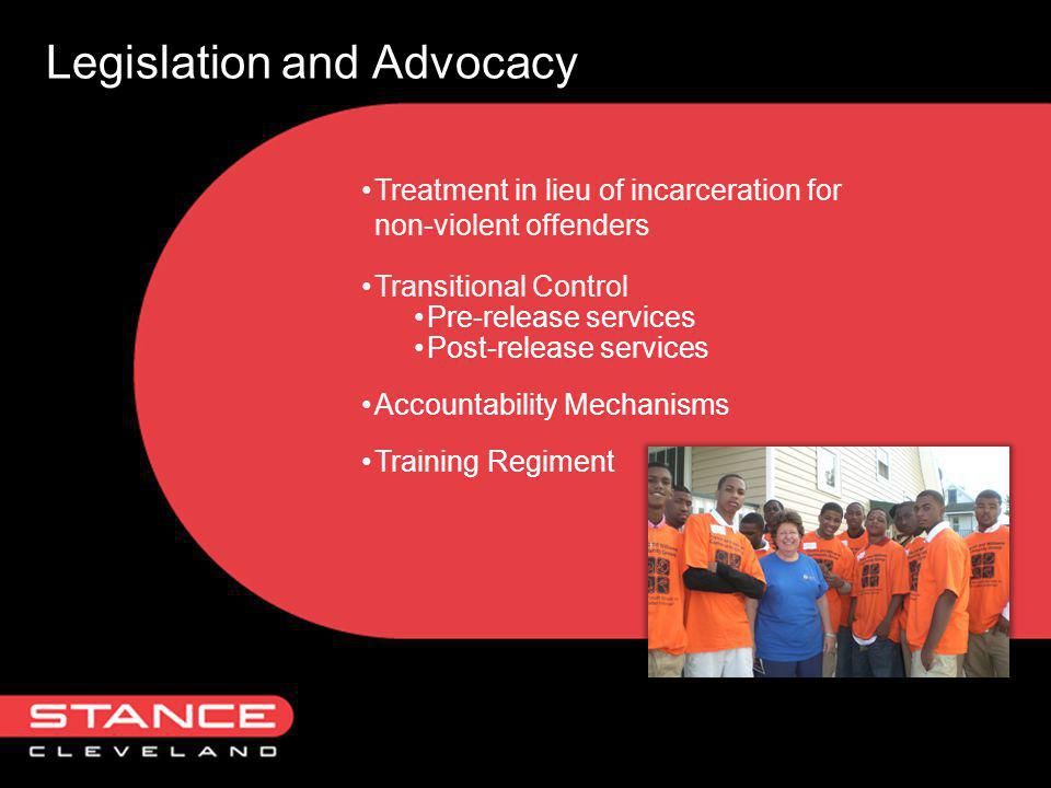 Legislation and Advocacy Treatment in lieu of incarceration for non-violent offenders Transitional Control Pre-release services Post-release services Accountability Mechanisms Training Regiment