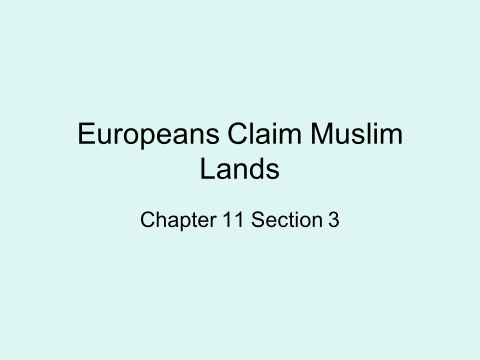 Europeans Claim Muslim Lands Chapter 11 Section 3