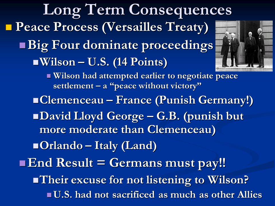 Long Term Consequences Peace Process (Versailles Treaty) Peace Process (Versailles Treaty) Big Four dominate proceedings Big Four dominate proceedings