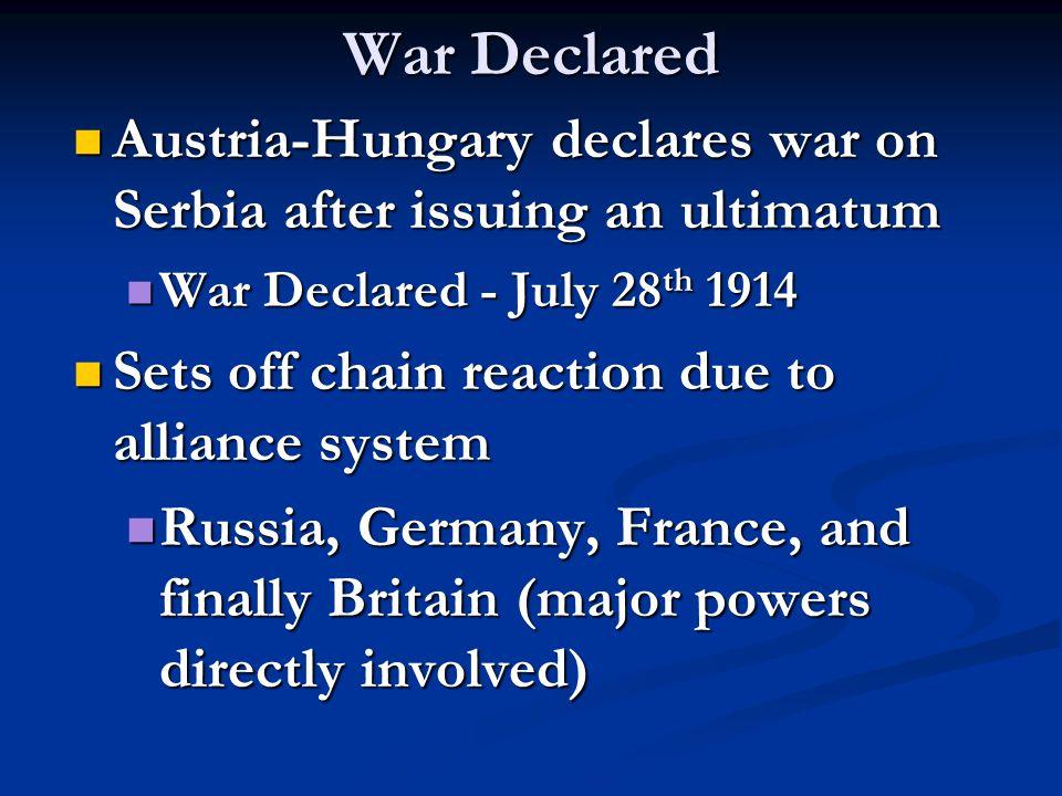 War Declared Austria-Hungary declares war on Serbia after issuing an ultimatum Austria-Hungary declares war on Serbia after issuing an ultimatum War D