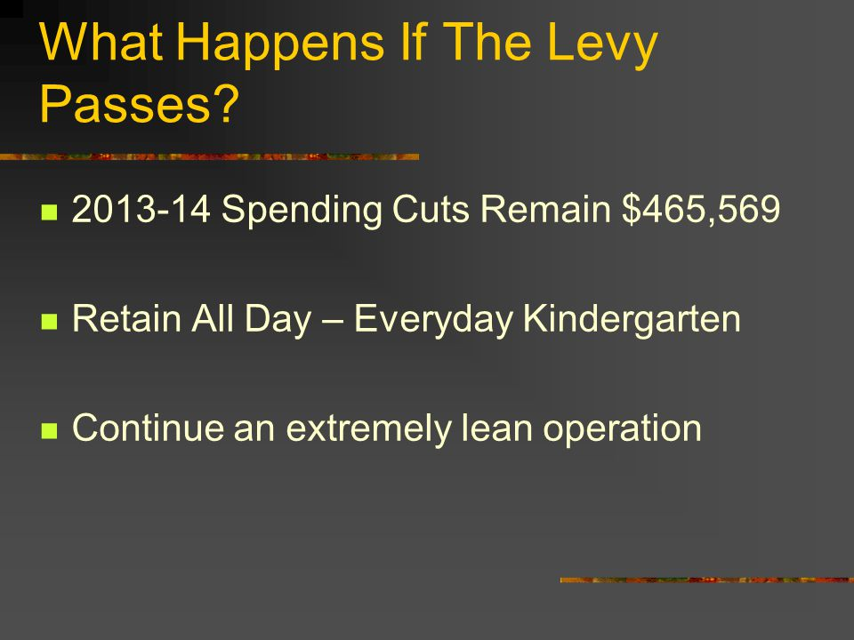 What Happens If The Levy Passes.