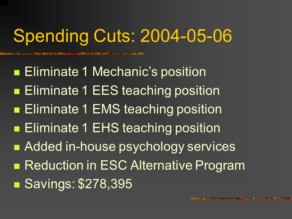 Spending Cuts: 2009-10 Eliminate 1 EHS teaching position Eliminate 1 EMS teaching position Eliminate 1 EES teaching position Eliminate 4 bus driver position/routes Established new heating set points Savings: $323,444