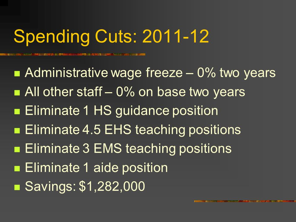 Spending Cuts: 2011-12 Administrative wage freeze – 0% two years All other staff – 0% on base two years Eliminate 1 HS guidance position Eliminate 4.5 EHS teaching positions Eliminate 3 EMS teaching positions Eliminate 1 aide position Savings: $1,282,000