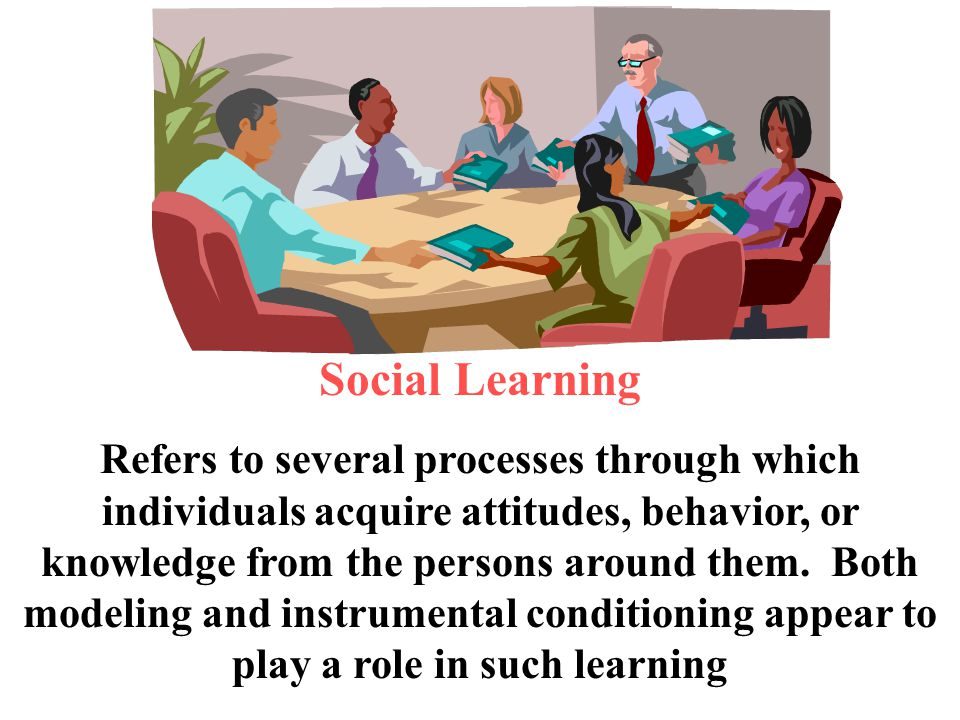 Social Learning Refers to several processes through which individuals acquire attitudes, behavior, or knowledge from the persons around them. Both mod