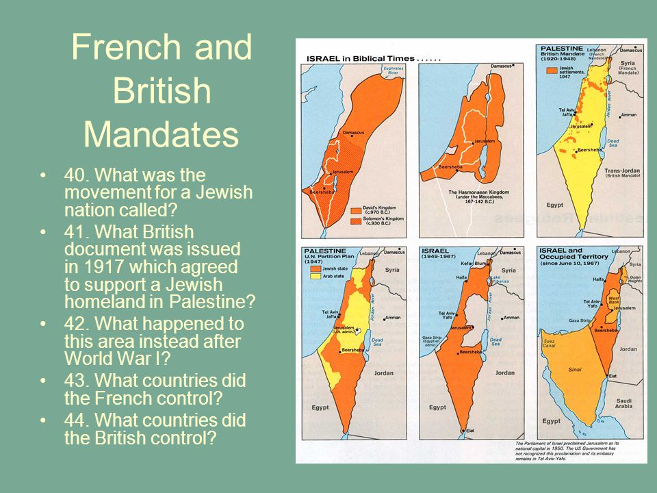 French and British Mandates 40.What was the movement for a Jewish nation called.