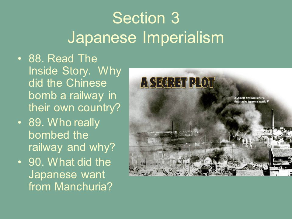 Section 3 Japanese Imperialism 88.Read The Inside Story.