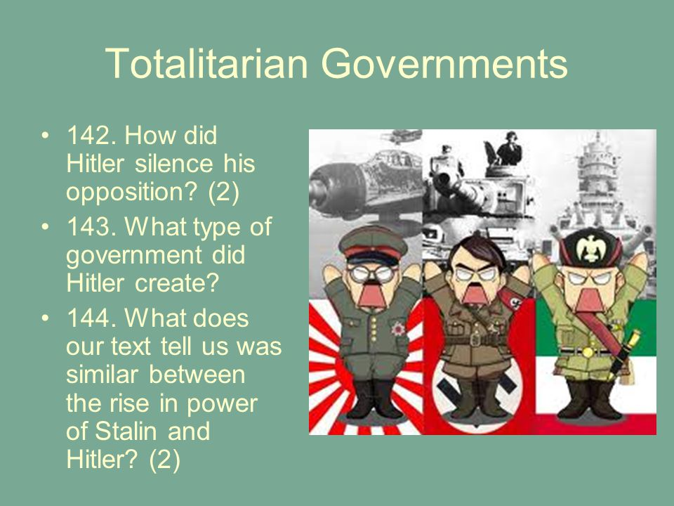 Totalitarian Governments 142.How did Hitler silence his opposition.
