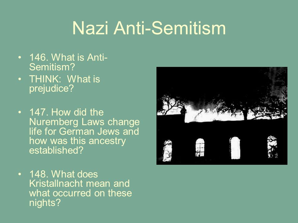 Nazi Anti-Semitism 146. What is Anti- Semitism? THINK: What is prejudice? 147. How did the Nuremberg Laws change life for German Jews and how was this