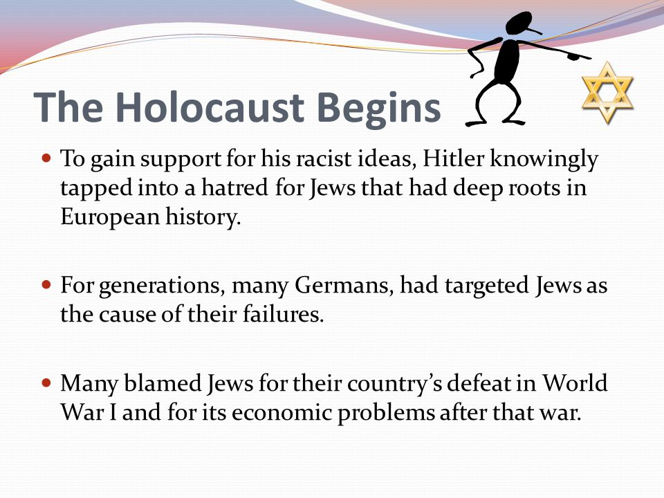 The Holocaust Begins To gain support for his racist ideas, Hitler knowingly tapped into a hatred for Jews that had deep roots in European history. For