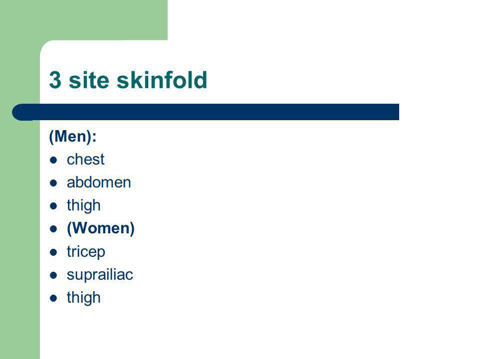 3 site skinfold (Men): chest abdomen thigh (Women) tricep suprailiac thigh