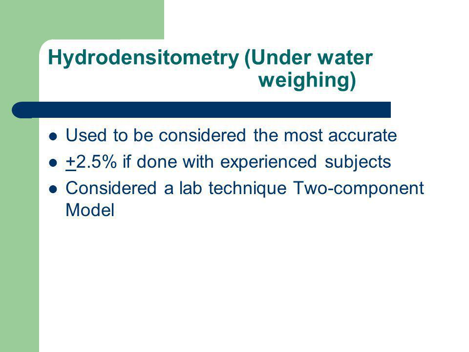 Hydrodensitometry (Under water weighing) Used to be considered the most accurate +2.5% if done with experienced subjects Considered a lab technique Tw