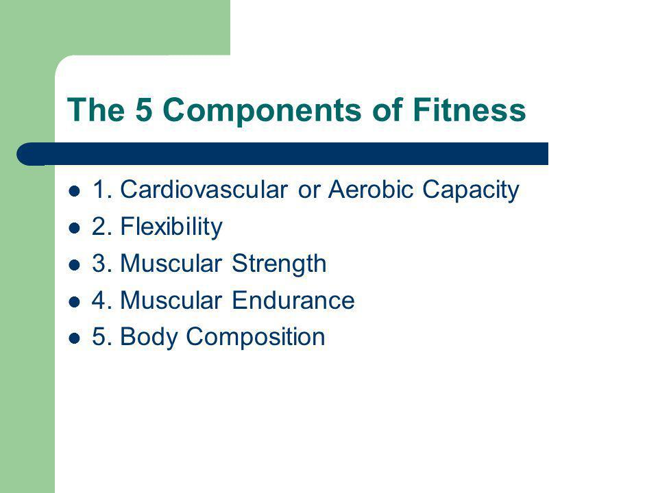 The 5 Components of Fitness 1.Cardiovascular or Aerobic Capacity 2.