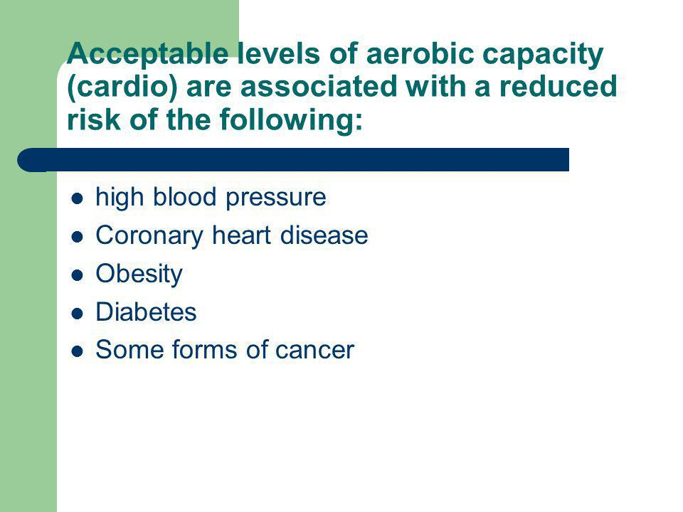 Acceptable levels of aerobic capacity (cardio) are associated with a reduced risk of the following: high blood pressure Coronary heart disease Obesity