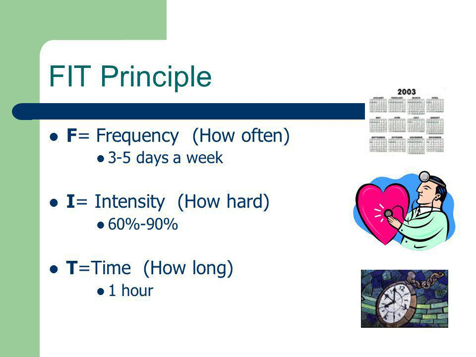 FIT Principle F= Frequency (How often) 3-5 days a week I= Intensity (How hard) 60%-90% T=Time (How long) 1 hour