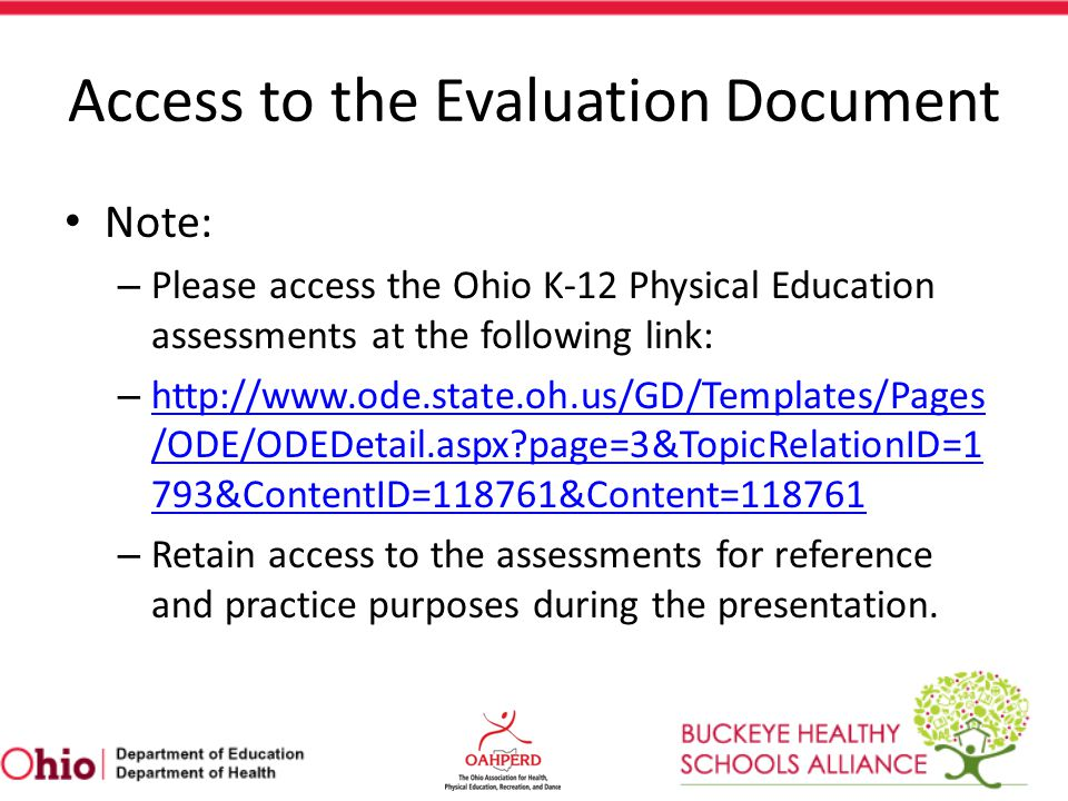K-12 Assessment Schedule Example ABC City Schools PE Curriculum K-2 – All assessment data is collected in Grade 2.