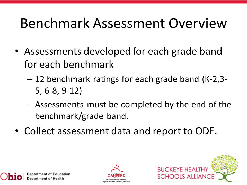 Benchmark Assessment Overview Part of school's report card, but not a high- stakes achievement test.