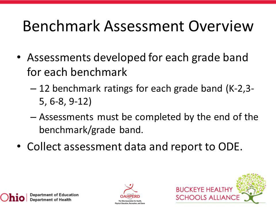 Standard 1 (Grades K-2) Skill Assessments Benchmark A – Run – Skip – Hop – Gallop/Slide – Rolling – Balance – Rhythm Average the score of each skill assessment for the rating.