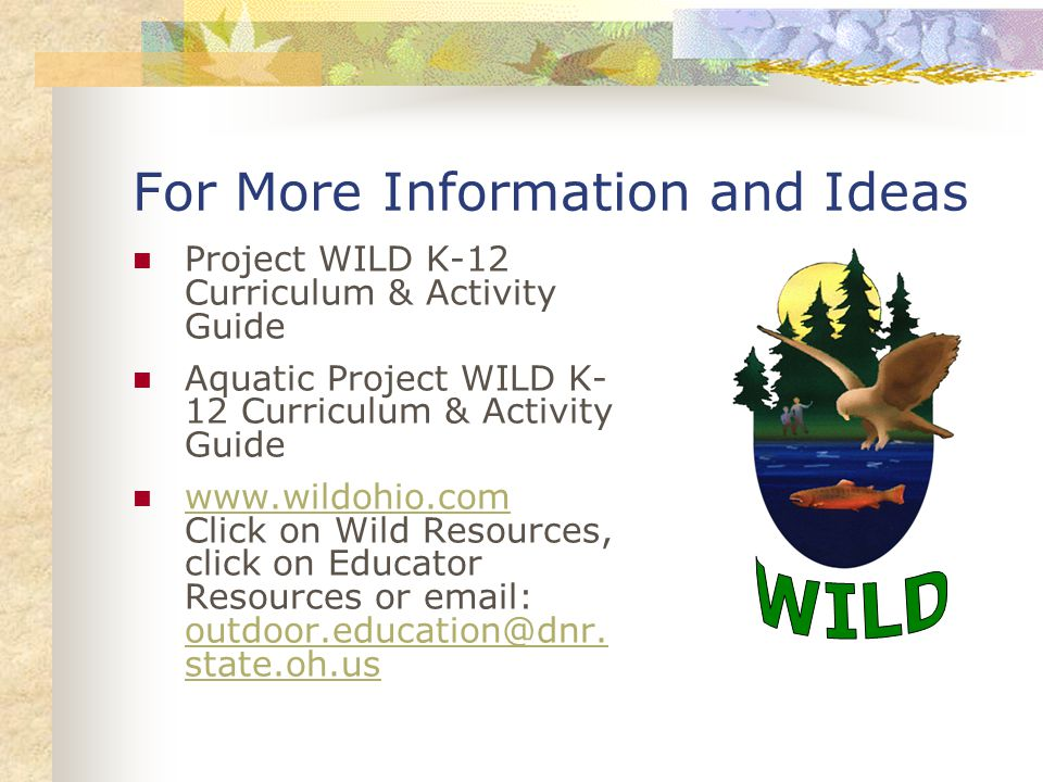 For More Information and Ideas Project WILD K-12 Curriculum & Activity Guide Aquatic Project WILD K- 12 Curriculum & Activity Guide www.wildohio.com Click on Wild Resources, click on Educator Resources or email: outdoor.education@dnr.