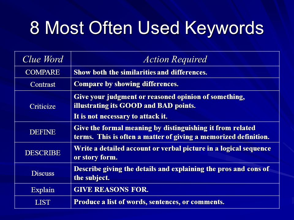 8 Most Often Used Keywords Clue Word Action Required COMPARE Show both the similarities and differences. Contrast Compare by showing differences. Crit