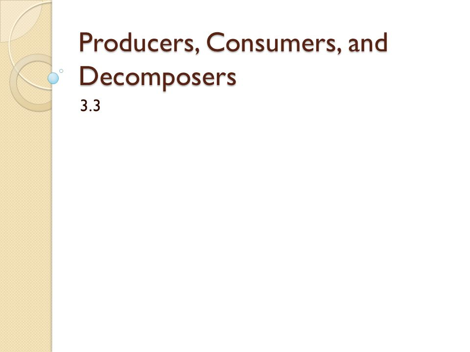 Producers, Consumers, and Decomposers 3.3