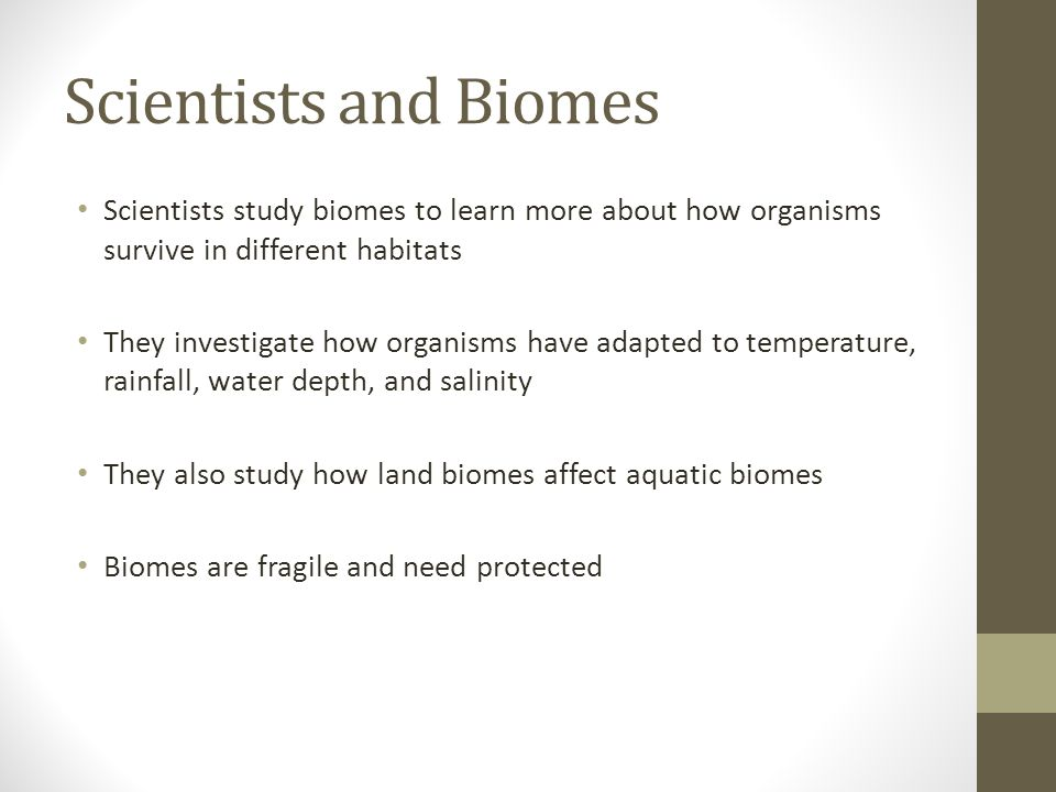 Scientists and Biomes Scientists study biomes to learn more about how organisms survive in different habitats They investigate how organisms have adap