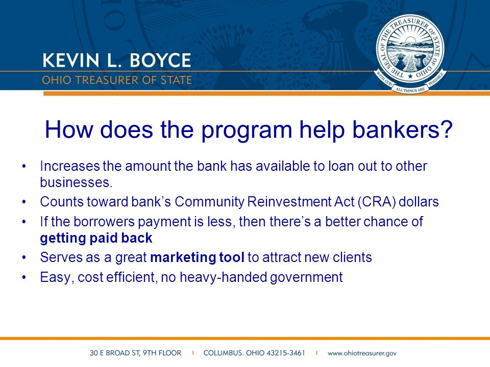 How does the program help bankers.