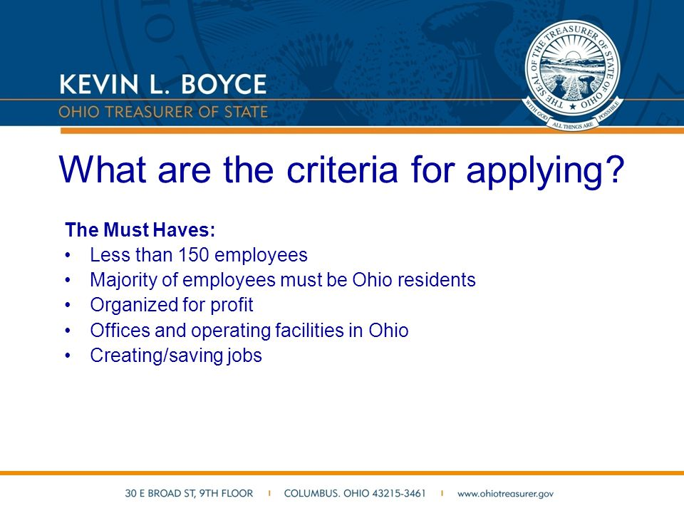 What do I do first.Complete an online application with your banker at www.grownow.ohio.gov.
