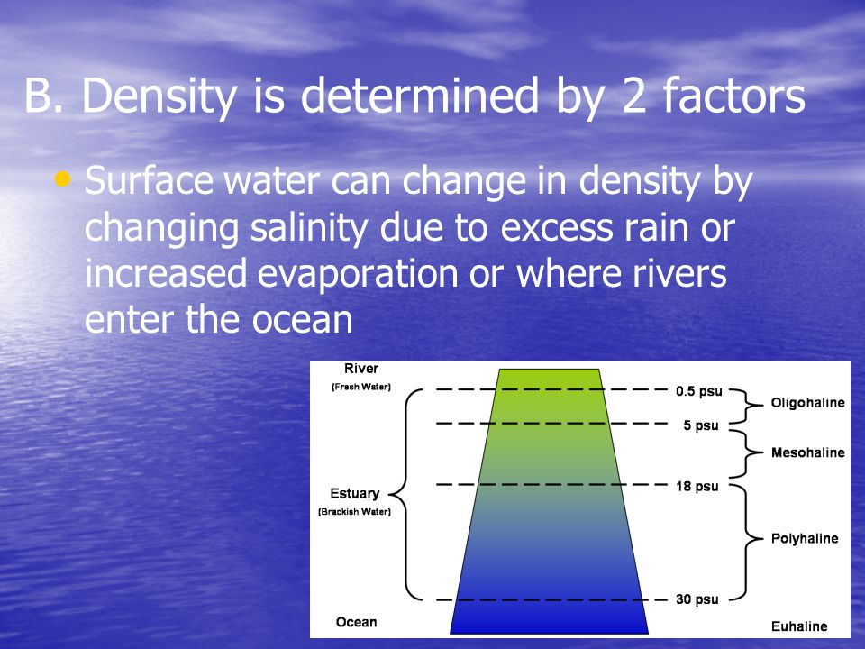 Surface water can change in density by changing salinity due to excess rain or increased evaporation or where rivers enter the ocean B.