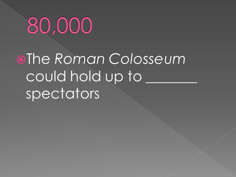  The Roman Colosseum could hold up to _______ spectators