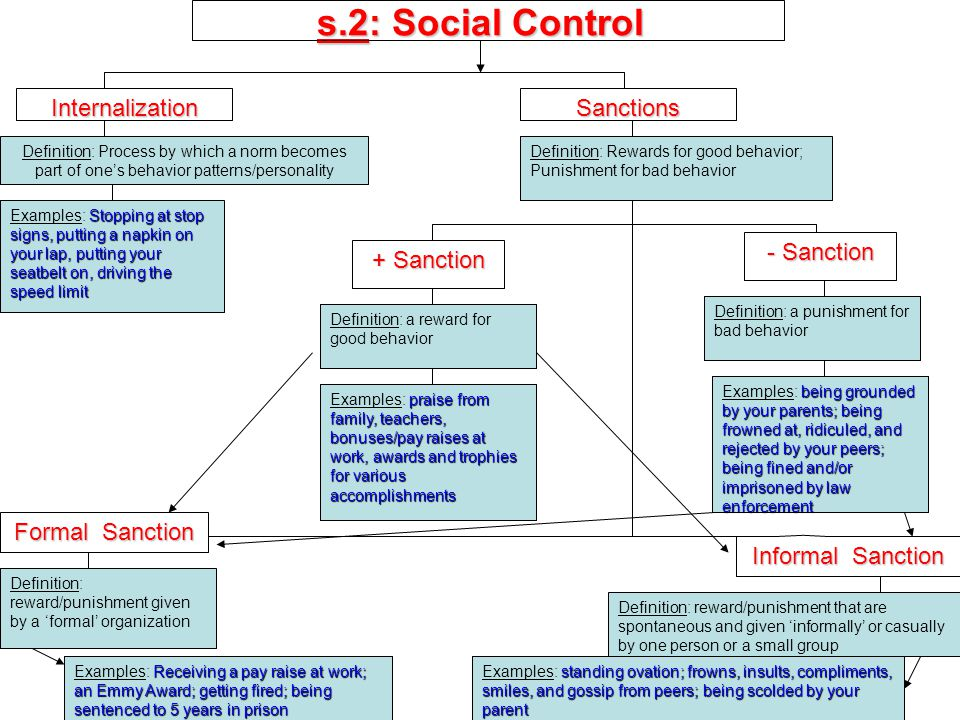 s.2: Social Control Internalization Definition: Sanctions + Sanction - Sanction Definition: examples: Examples: Formal Sanction Informal Sanction Definition: Examples: Definition: Process by which a norm becomes part of one's behavior patterns/personality Stopping at stop signs, putting a napkin on your lap, putting your seatbelt on, driving the speed limit Examples: Stopping at stop signs, putting a napkin on your lap, putting your seatbelt on, driving the speed limit Definition: Rewards for good behavior; Punishment for bad behavior Definition: a reward for good behavior praise from family, teachers, bonuses/pay raises at work, awards and trophies for various accomplishments Examples: praise from family, teachers, bonuses/pay raises at work, awards and trophies for various accomplishments Definition: a punishment for bad behavior being grounded by your parents; being frowned at, ridiculed, and rejected by your peers; being fined and/or imprisoned by law enforcement Examples: being grounded by your parents; being frowned at, ridiculed, and rejected by your peers; being fined and/or imprisoned by law enforcement Definition: reward/punishment given by a 'formal' organization Receiving a pay raise at work; an Emmy Award; getting fired; being sentenced to 5 years in prison Examples: Receiving a pay raise at work; an Emmy Award; getting fired; being sentenced to 5 years in prison Definition: reward/punishment that are spontaneous and given 'informally' or casually by one person or a small group standing ovation; frowns, insults, compliments, smiles, and gossip from peers; being scolded by your parent Examples: standing ovation; frowns, insults, compliments, smiles, and gossip from peers; being scolded by your parent