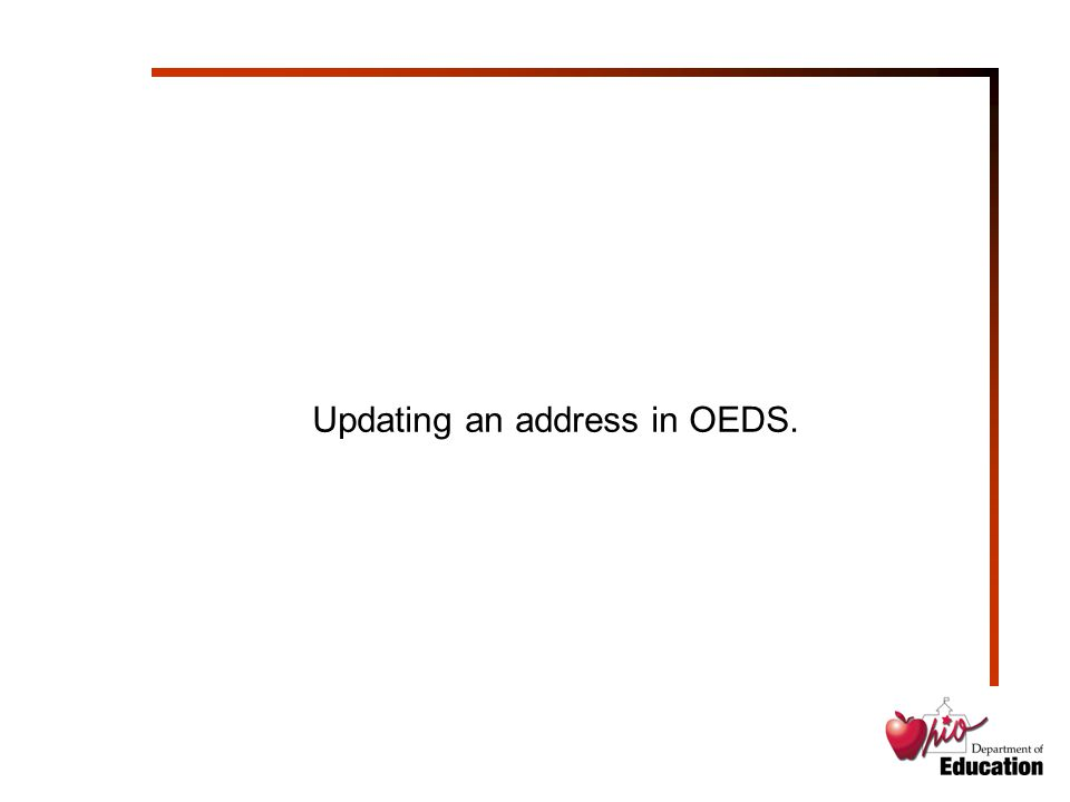 Updating an address in OEDS.