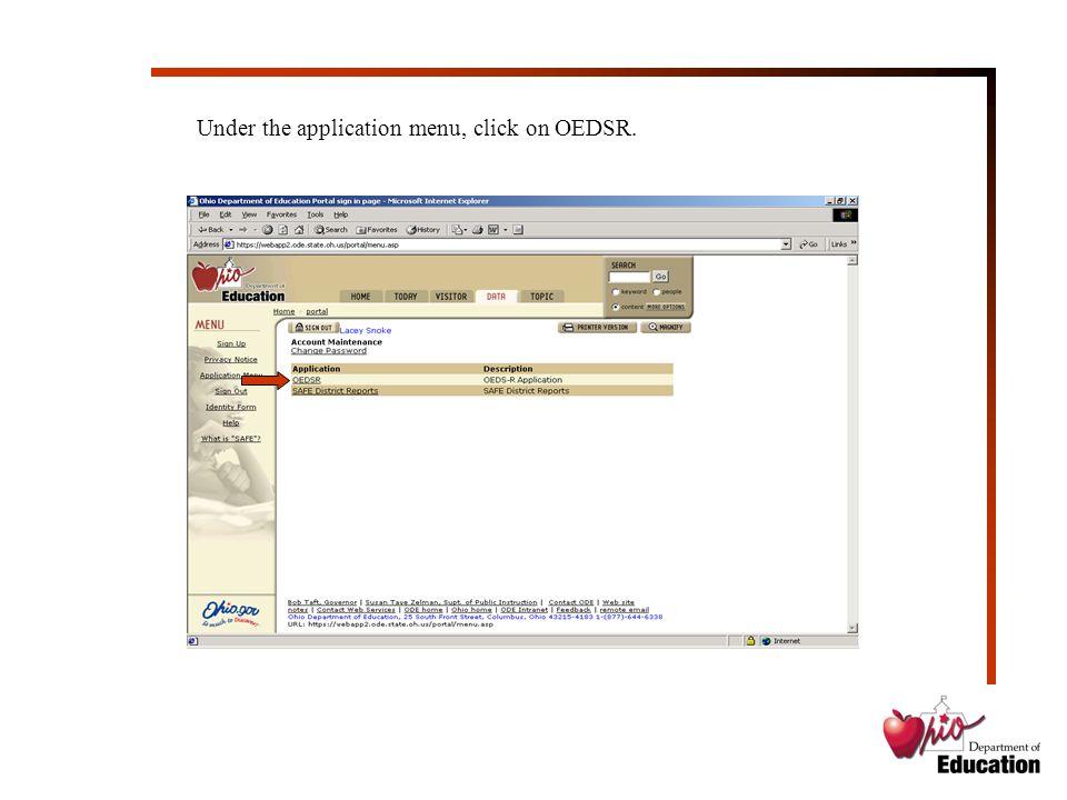 Under the application menu, click on OEDSR.