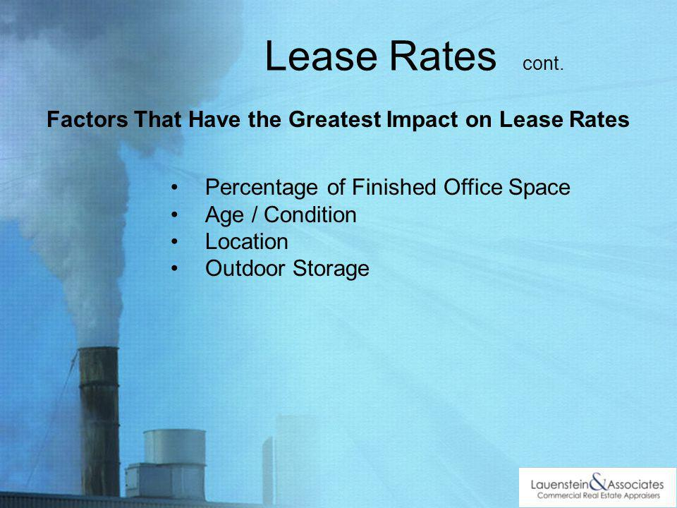 Factors That Have the Greatest Impact on Lease Rates Percentage of Finished Office Space Age / Condition Location Outdoor Storage