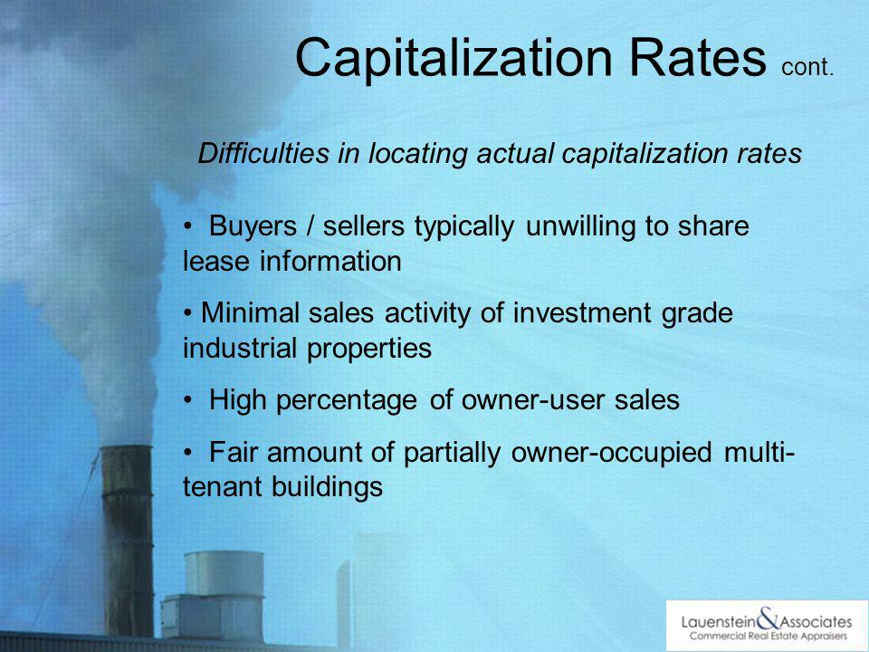 Capitalization Rates cont.