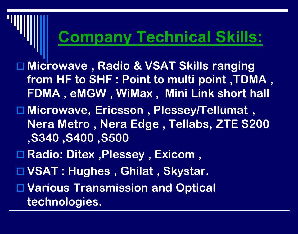 Company Technical Skills:  Microwave, Radio & VSAT Skills ranging from HF to SHF : Point to multi point,TDMA, FDMA, eMGW, WiMax, Mini Link short hall  Microwave, Ericsson, Plessey/Tellumat, Nera Metro, Nera Edge, Tellabs, ZTE S200,S340,S400,S500  Radio: Ditex,Plessey, Exicom,  VSAT : Hughes, Ghilat, Skystar.