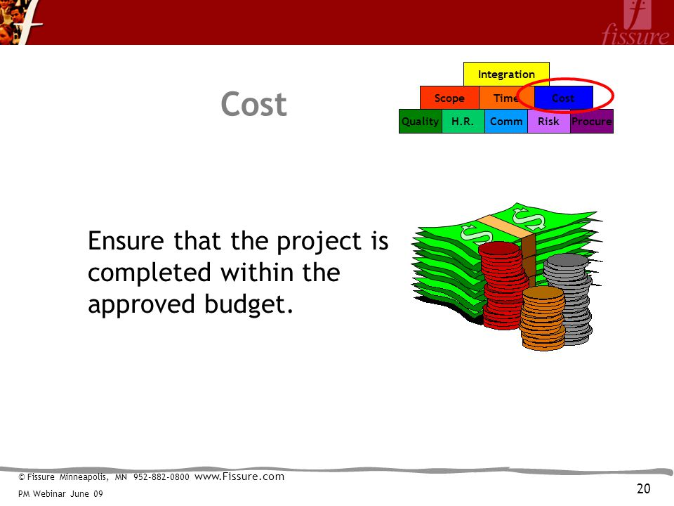 © Fissure Minneapolis, MN 952-882-0800 www.Fissure.com PM Webinar June 09 Integration TimeCost CommRiskProcureH.R.Quality Scope Cost Ensure that the project is completed within the approved budget.