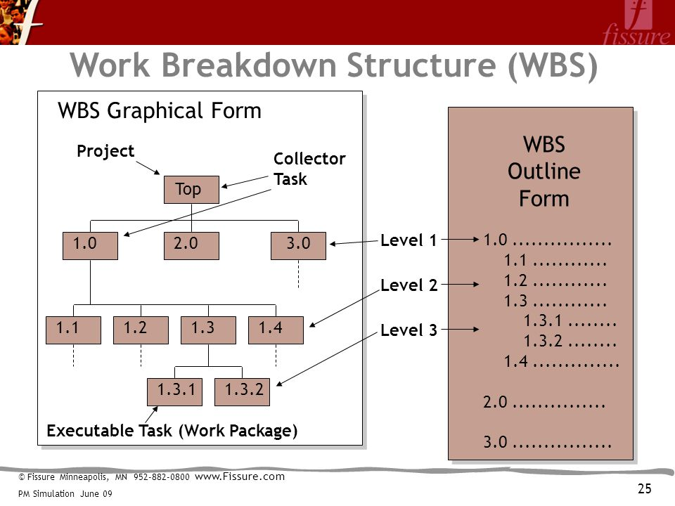 © Fissure Minneapolis, MN 952-882-0800 www.Fissure.com PM Simulation June 09 Work Breakdown Structure (WBS) Top 1.02.03.0 1.11.21.31.4 1.3.11.3.2 1.0................