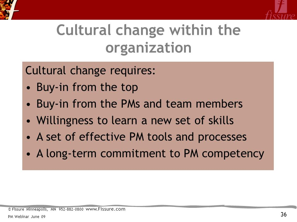 © Fissure Minneapolis, MN 952-882-0800 www.Fissure.com PM Webinar June 09 Cultural change within the organization Cultural change requires: Buy-in from the top Buy-in from the PMs and team members Willingness to learn a new set of skills A set of effective PM tools and processes A long-term commitment to PM competency 36