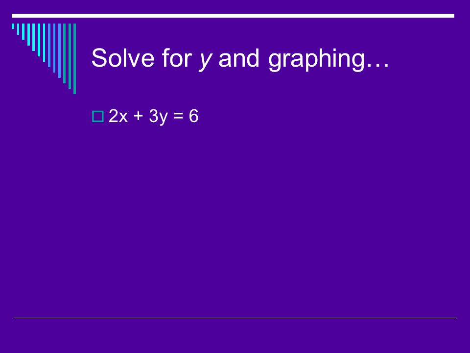 Solve for y and graphing…  2x + 3y = 6