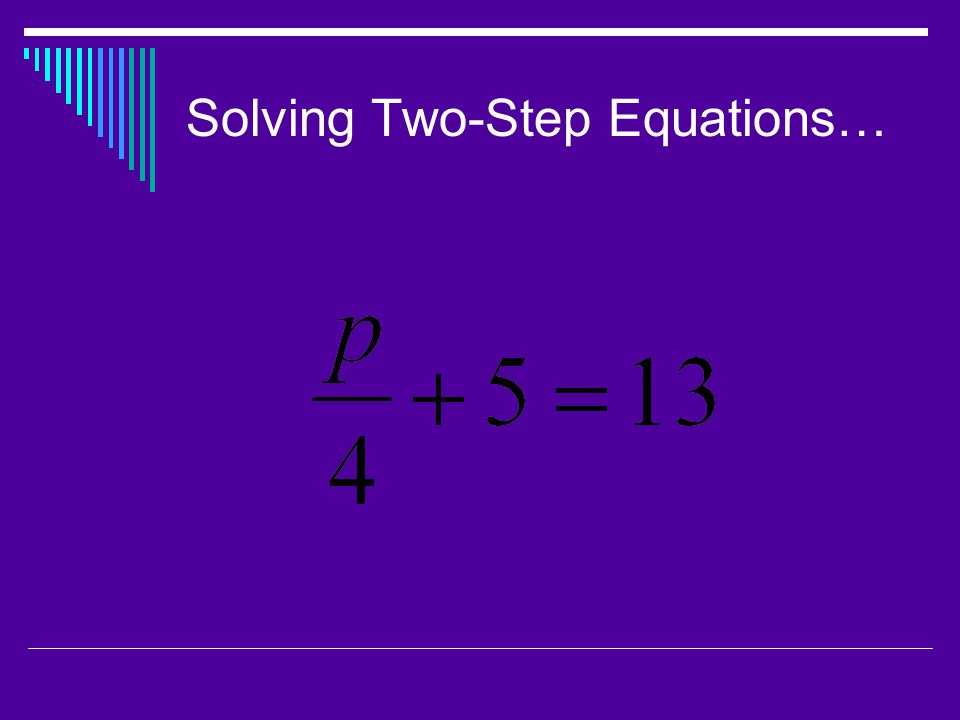 Solving Two-Step Equations…